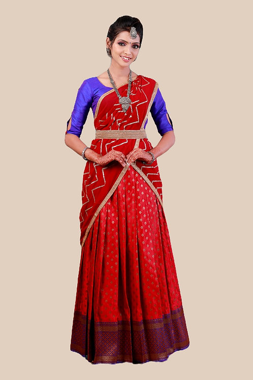 Shivangi Girls Satin Bhutta Zari Half saree | Langa Dhavani !!! – AN19MR