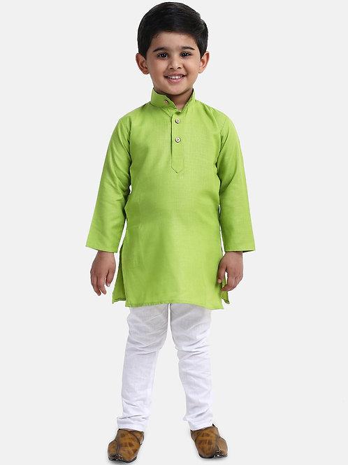 Kidswear Bow n Bee Boys Stand Collar Cotton Kurta pajama in Green