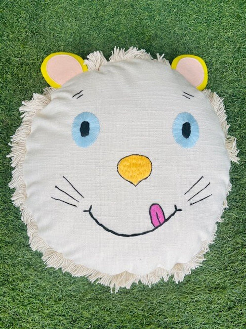 Hawa Mahal Round Lion Face Cushion with Filler