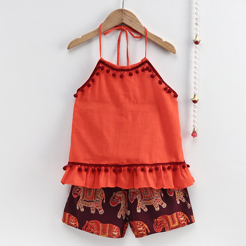 Bow N Bee Girls Pure Cotton Top With Printed Shorts in Orange