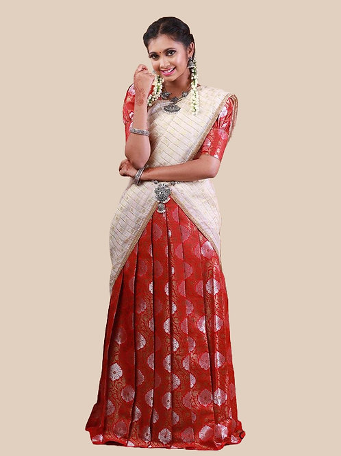 Shivangi Brocade Silver Half Saree for Teenager in Red