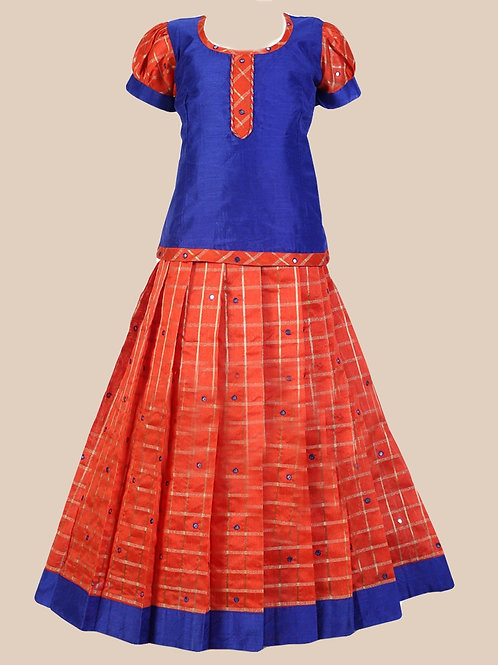 Shivangi Girls Checks Mirror Pavadai set !!! – AM65OR