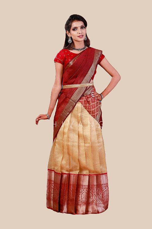Shivangi Checks Mughal Pattu Langa Half Saree dhavani