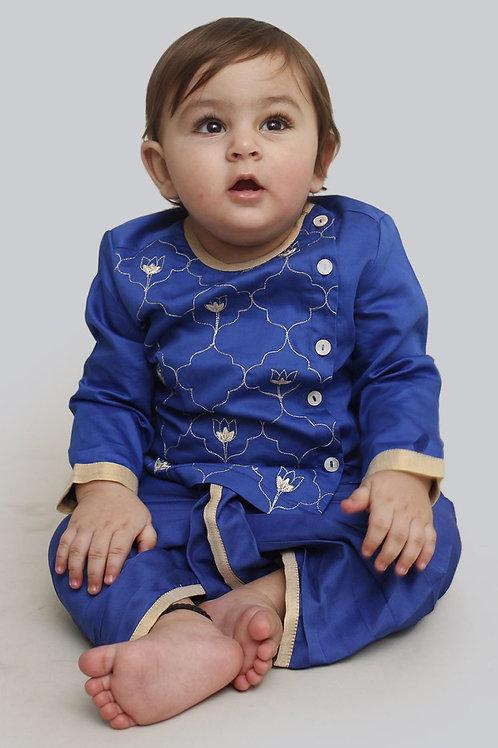 Tiber Taber Baby Boy Blue Jaal Dhoti Set
