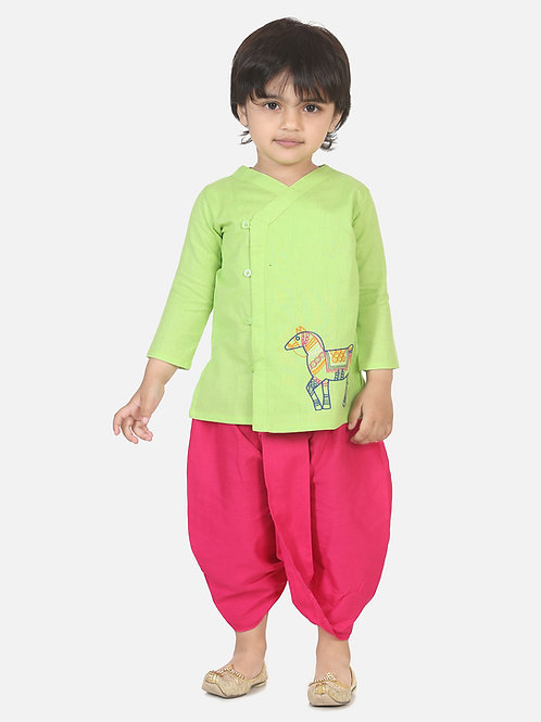 Bow n Bee Boys Horse embroidery front open dhoti kurta in Green
