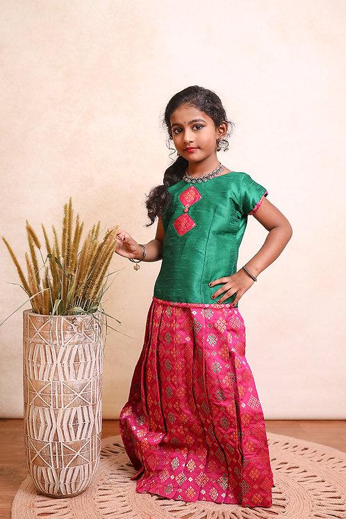 Shivangi Girls Patola Diamond Pavadai set   Lehenga