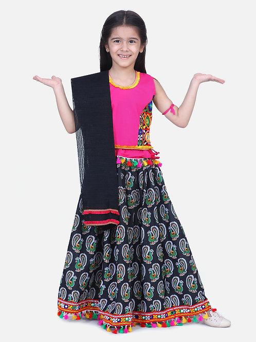 Bow N Bee Mor Print Chaniya Choli With Frill Dupatta in Black