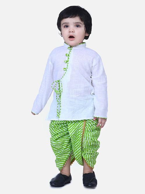 Kidswear Boys Dhoti Front open White Kurta