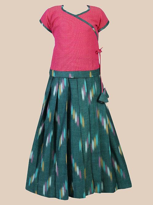Shivangi Girls Cotton Ikkat  Pavadai Set   Lehenga !!!- AH16RGR