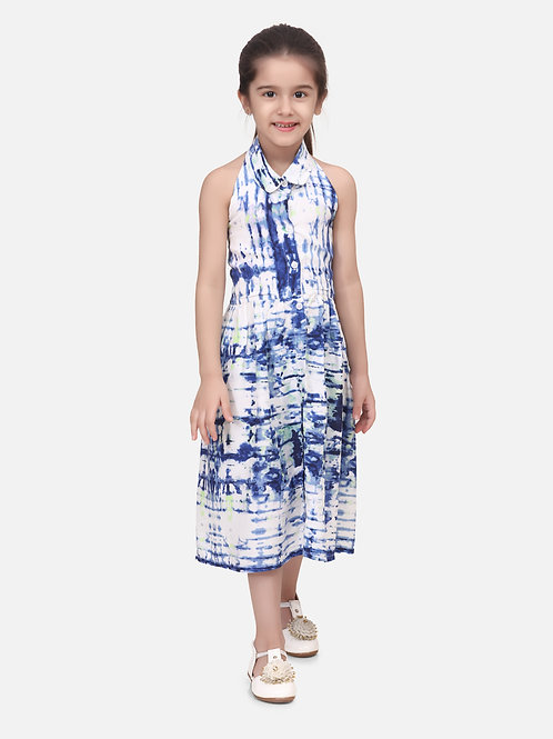 Bow N Bee Baby Girls Halter Neck Collar Frock in Indigo