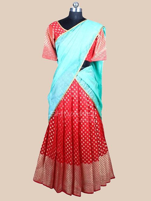 Shivangi Cuckoo Half Saree for Teenager in Red