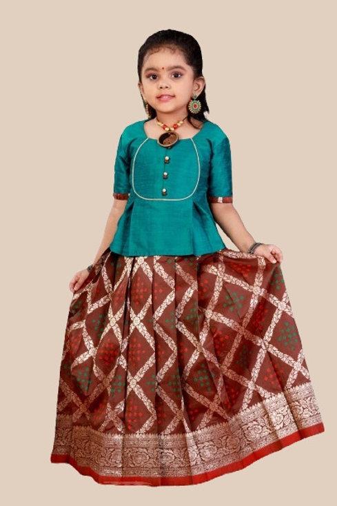 Shivangi Girls Bandhini Jacquard Pavadai Set !!! – AN39BR