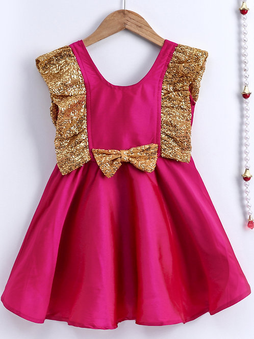 Bow N Bee Girls Pink Sequin Frill Silk Party Frock