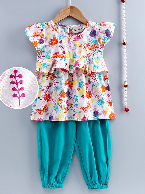 Bow N Bee Girls Ruffle Cotton Top With Harem Pant in Blue