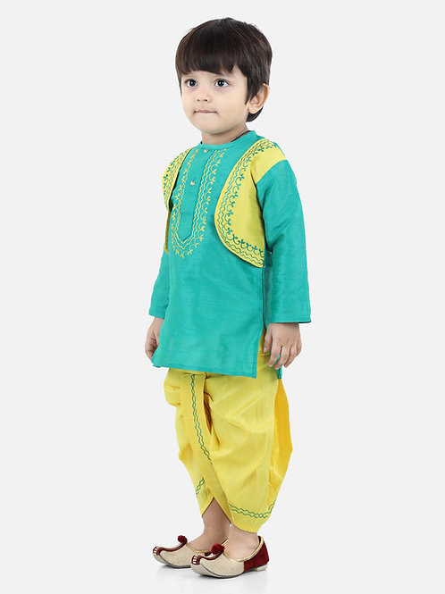 Bow N Bee Attached Jacket Dhoti Kurta For Boys in Green