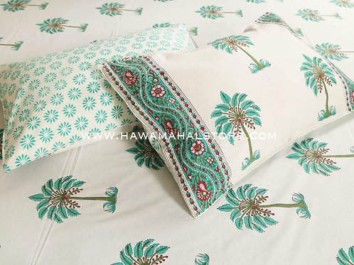 Hawa Mahal Double Bed Sheet in Fame Palm tree