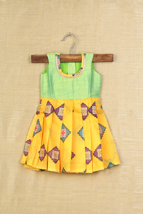 Shivangi Yellow Baby Banaras Frocks For Little Ones !!!