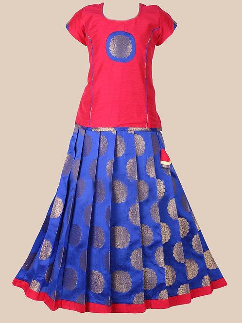 Shivangi Girls Silver Floral Brocade Pattu pavadai !!! – AI91BU