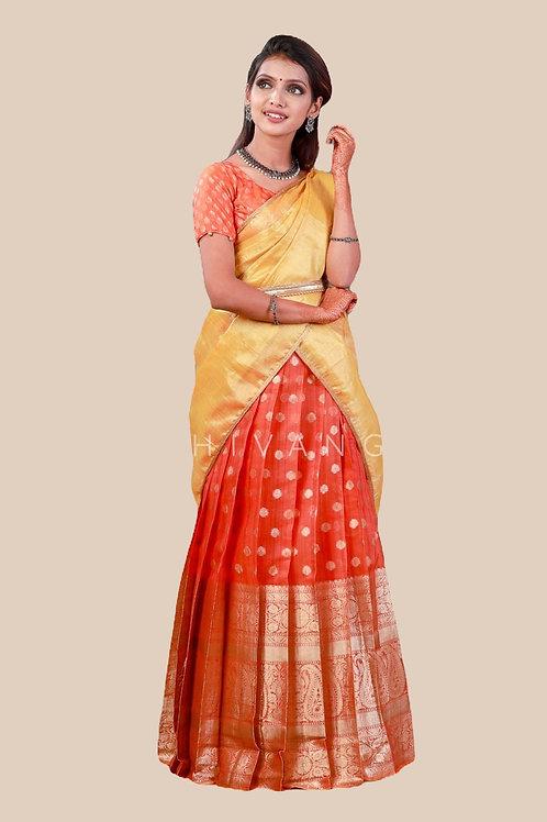Shivangi Mango Stream Half Saree for Teenager in Red