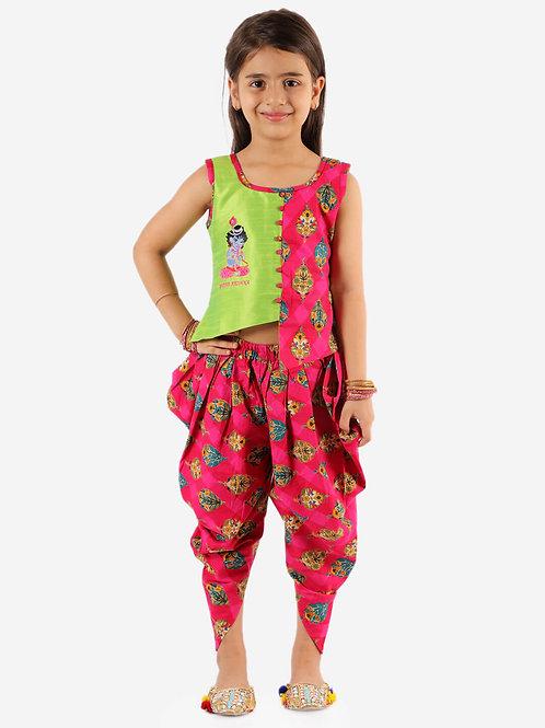 Girls Radhe Krishna Dhoti Set in Green