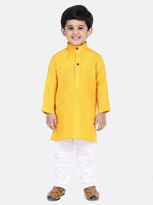 Kidswear Bow n Bee Boys Stand Collar Cotton Kurta pajama in yellow
