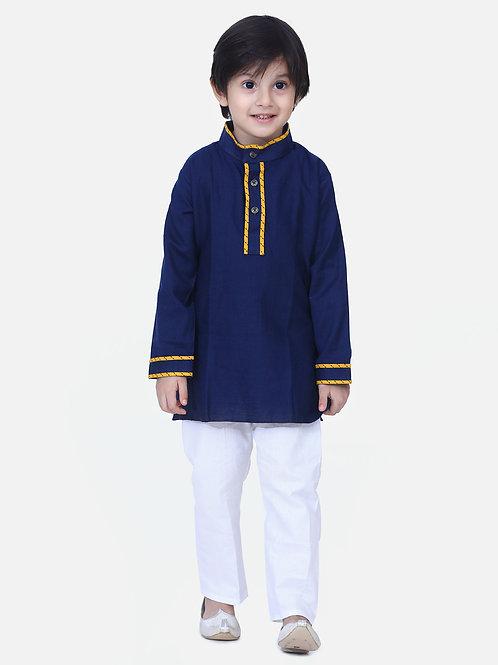 Kidswear Boys Bow n Bee Blue Full Sleeve Stand Collar Kurta Pajama