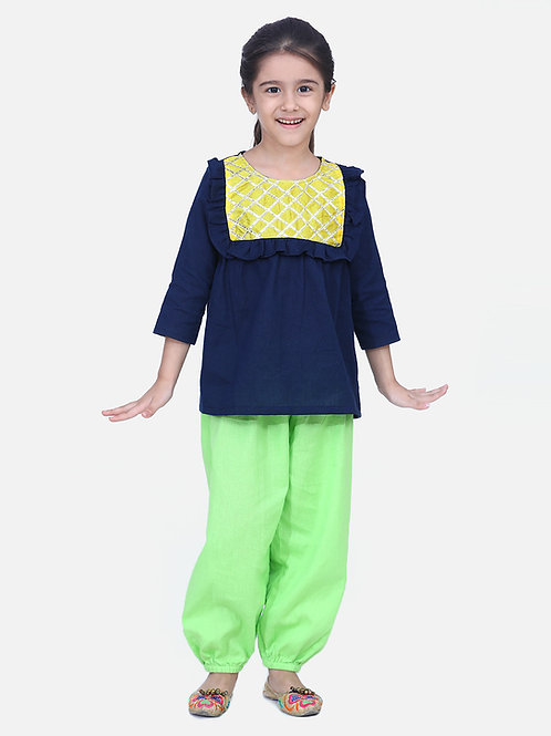 Bow n Bee Girls Indo western Top with Harem Pants in Blue