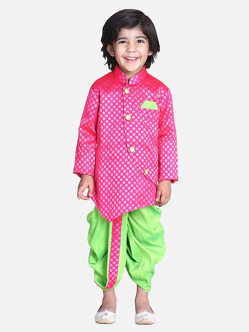 Kidswear Bow n Bee Boys Pink Jacquard Front Open Sherwani