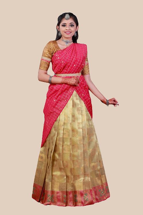Shivangi Girls Tissue Malgudi Half saree   Langa Dhavani !!! – AN22GO