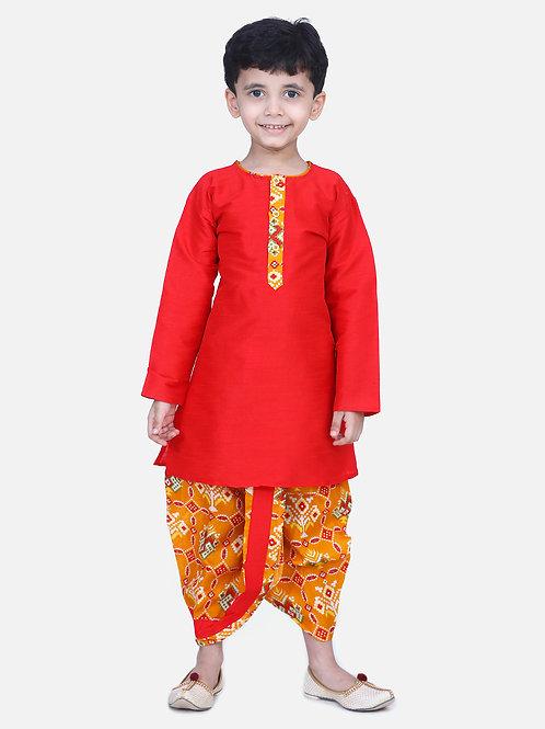 Kidswear Boys Patan Patola Ethnic Yellow Colored Kurta