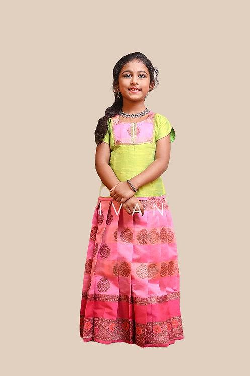 Shivangi Girls Golden Tulip Pattu Pavadai | Lehenga
