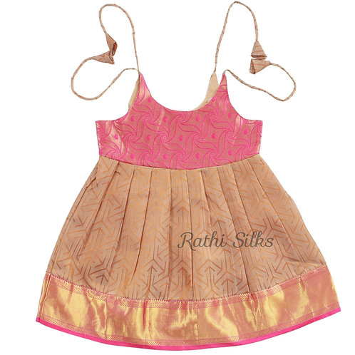 Pure Silk Shoulder Knot Baby Frocks in Brown