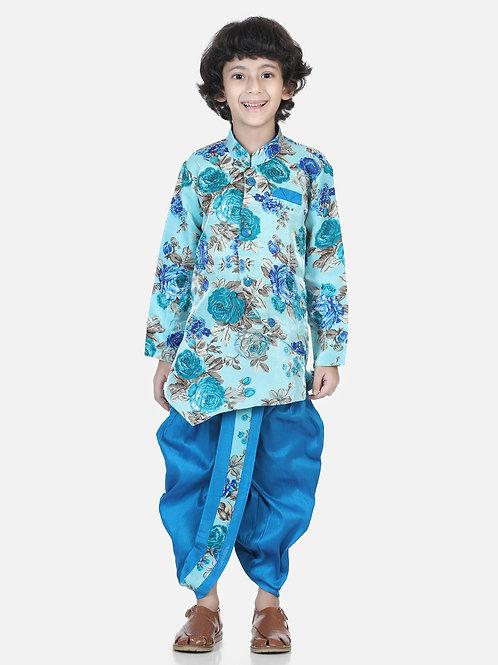 Bow N Bee Printed Sherwani Blue Dhoti Set for Boys