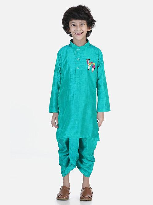 Natyam  Green Dhoti Kurta for baby boys