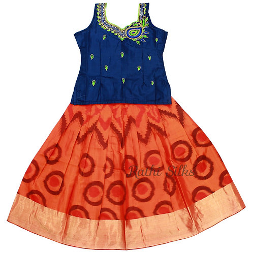 EMB Pure Silk pattu pavadai   Lehenga for girls in Orange
