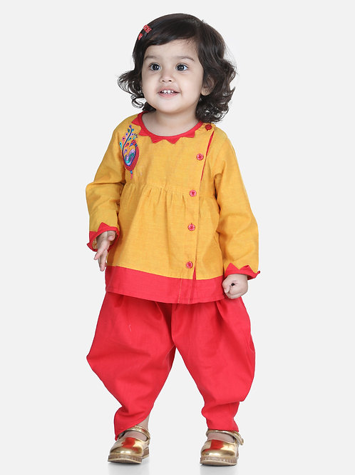 Bow N Bee Mor Embroidery Top Yellow Dhoti For Girls