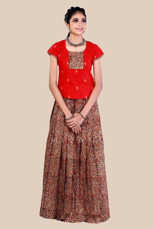 Shivangi GirlsKalamkari floral Cotton Pavadai Set !!! – AN92RD