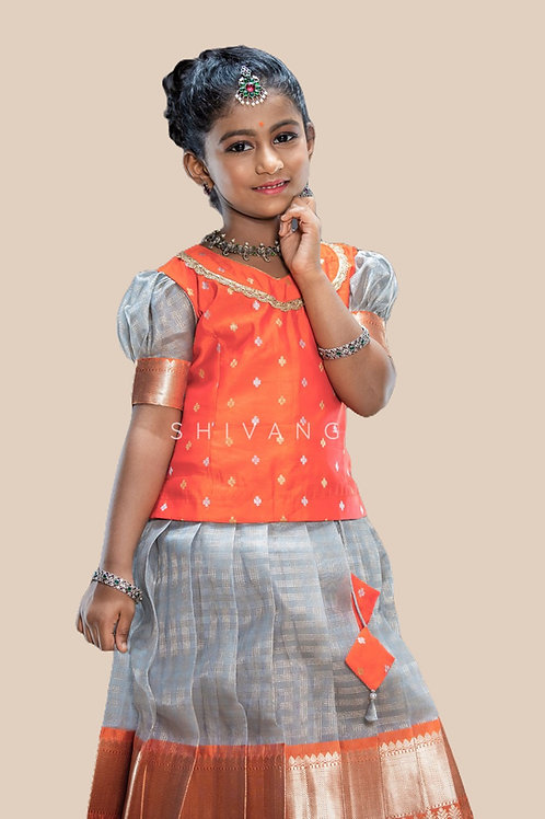 Shivangi Grey Checks Pavadai Set   Lehenga in Orange