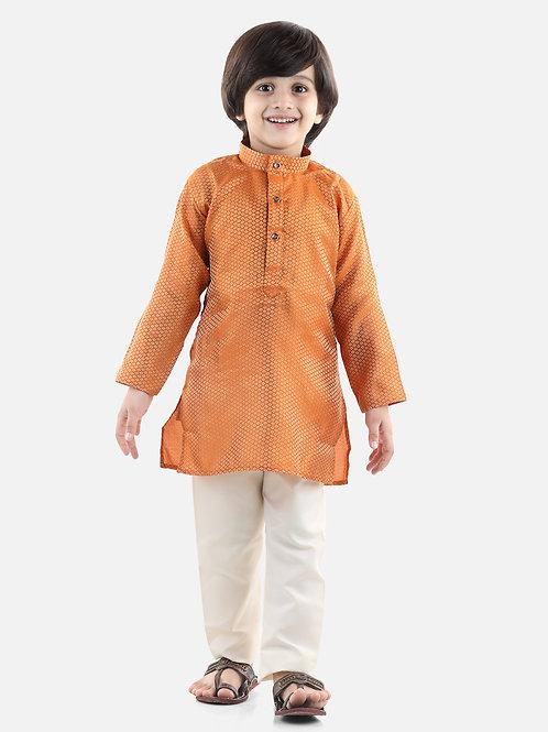 Bow N Bee Boys Jacquard Kurta Pajama in Orange