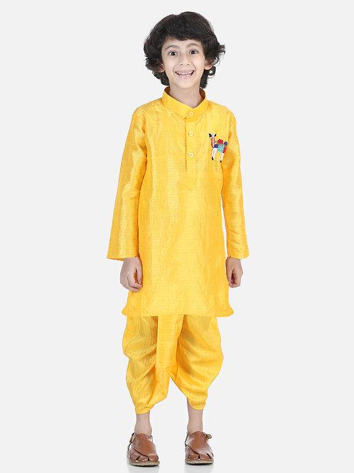 Bow N Bee Camel Hand Embroidered Yellow Dhoti Kurta