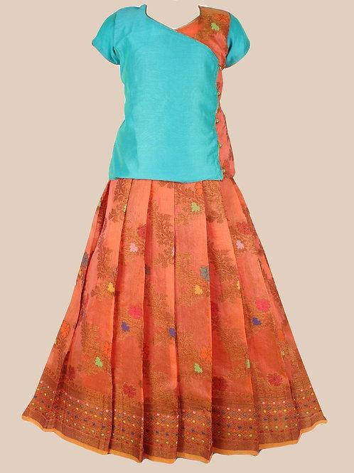 Shivangi Girls Jal Motiff Pavadai Set | Lehenga