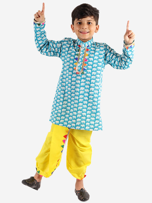 KID1 Pancham Lace Detail Kurta With Dhoti in Blue