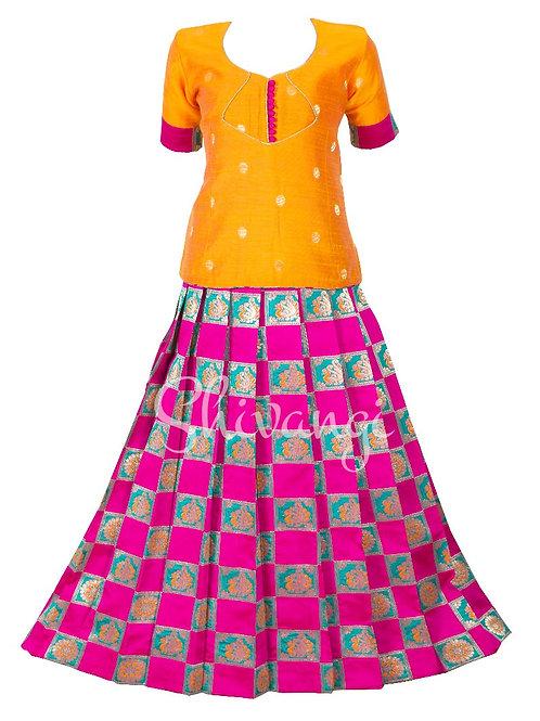Shivangi Girls Checks Peacock Pattu Pavadai   Lehenga
