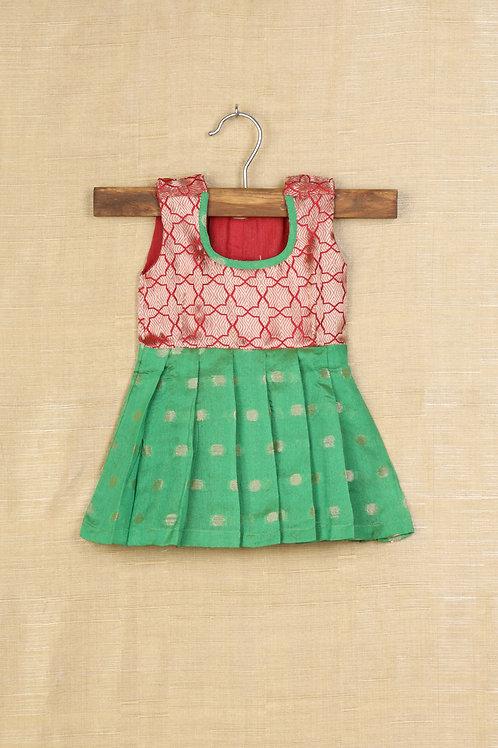 Shivangi Green and Red Banarasi Baby Frocks !!!