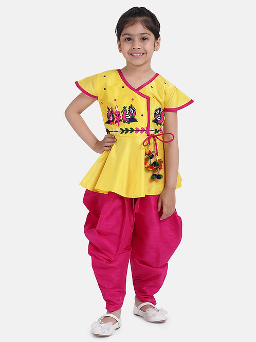 BownBee Peacock Embroidery Peplum Dhoti For Girls in  yellow