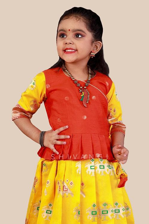 Shivangi Girls Peacock Patola Pavadai Set !!!-AN38YL