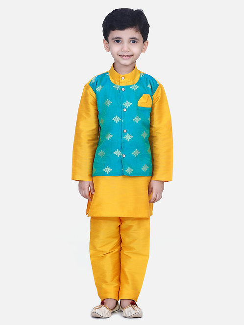 Kidswear Bow n Bee Chiffon Jacket Full Sleeve Kurta Pajama in Orange