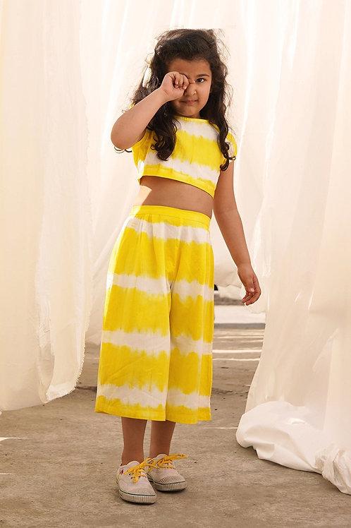 Tiber Taber Baby Girls Yellow Stripe Top Set