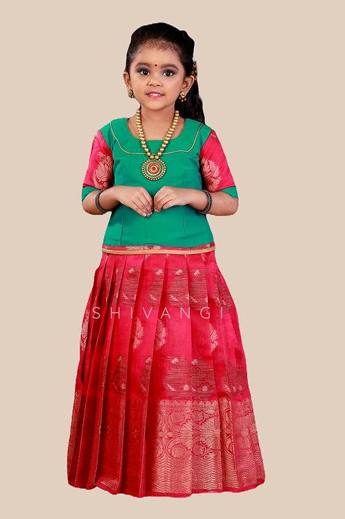 Shivangi Girls Cap Lilly Pattu Pavadai | Lehenga