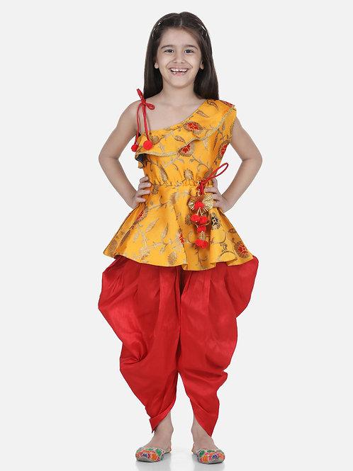 Bow N Bee One Shoulder Ruffle Peplum Yellow Dhoti Set